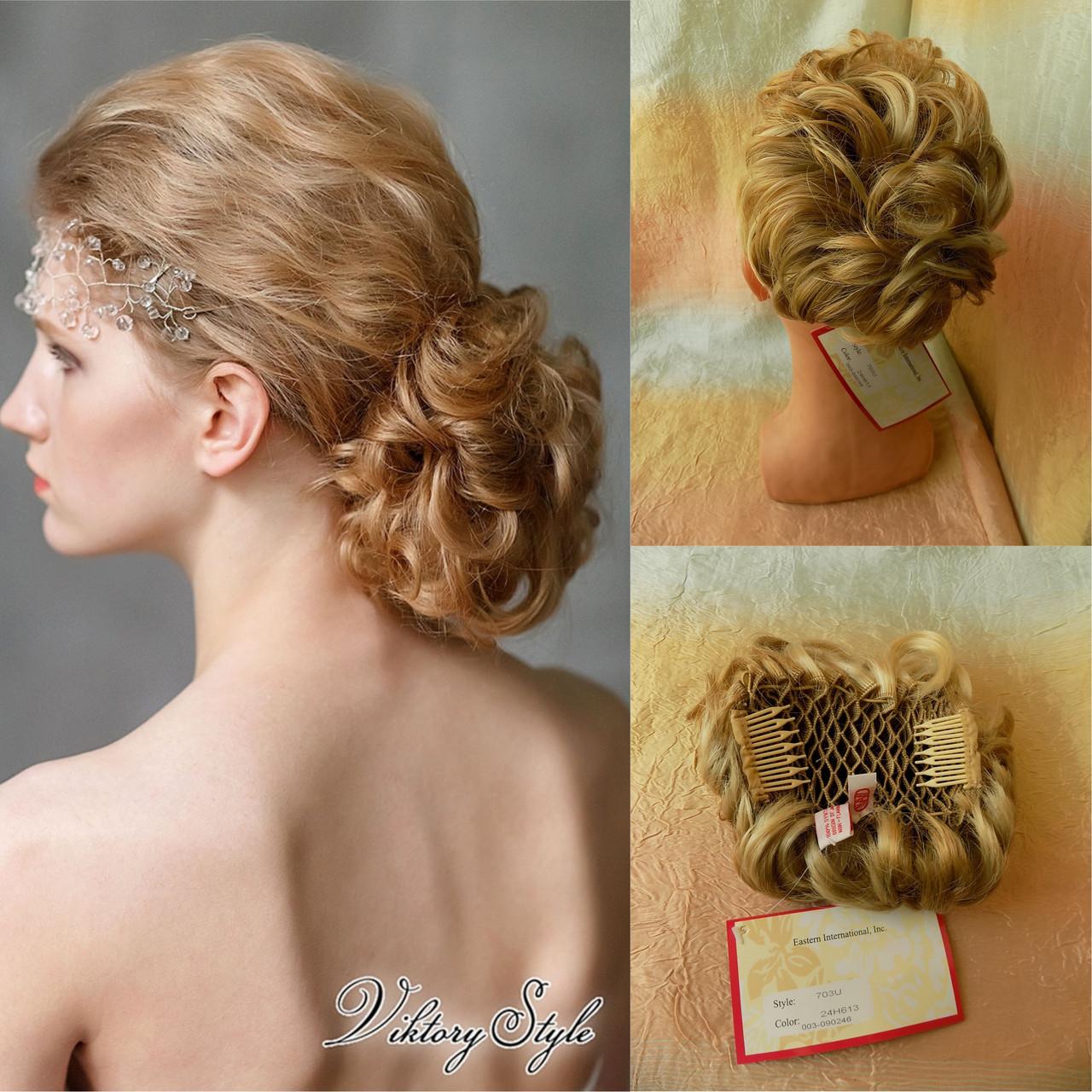 Шиньон-накладка короткий на гребешках блонд с милированием 703-24Н613