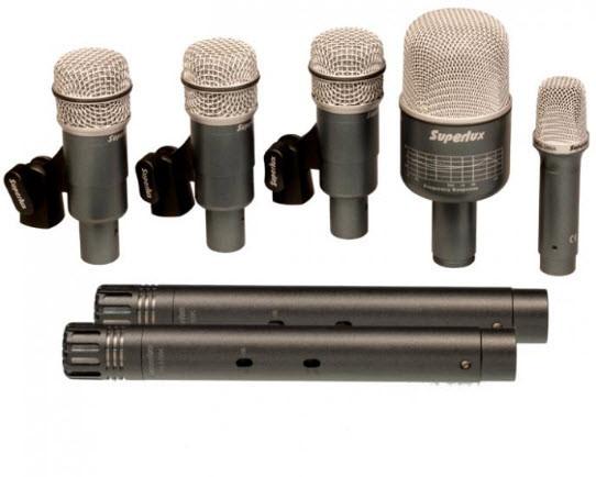 Набор микрофонов для барабанов (7шт) SUPERLUX DRKB5C2MKII