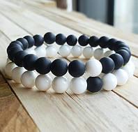 Браслеты для влюбленных из натурального камня черный матовый агат и белый агат, фото 1