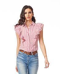 Женская хлопковая рубашка с воланами. К089