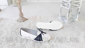 Балетки женские из натуральной кожи белого цвета с черными вставками + завязочки Код 1486 AR, фото 2