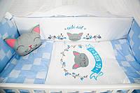 """Комплект в кроватку """"CUTE CAT синий"""