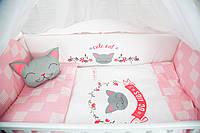 """Комплект в кроватку """"CUTE CAT розовый"""