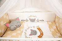 """Комплект в кроватку """"CUTE CAT бежевый"""
