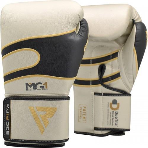 Боксерські рукавички RDX Leather Pearl White 14 ун.