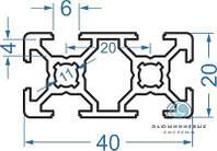 Алюминиевый станочный профиль  20х40 / анод