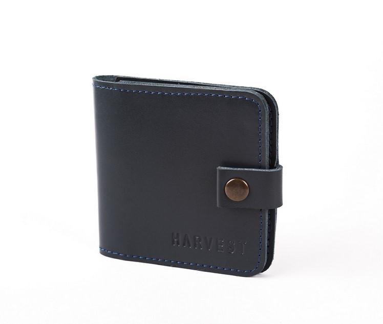 Кожаный кошелек бумажник CLIP NAVY BLUE HARVEST синий (гаманець, мужск