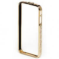 Бампер металлический с камнями Swarovski Золотой для IPhone 4/4S