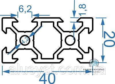 Станочный профиль | Конструкционный, без покрытия, 20х40 V-образный