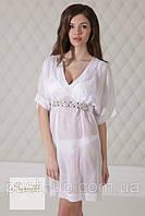 Пляжная шифоновая женская туника молочного цвета Suavite