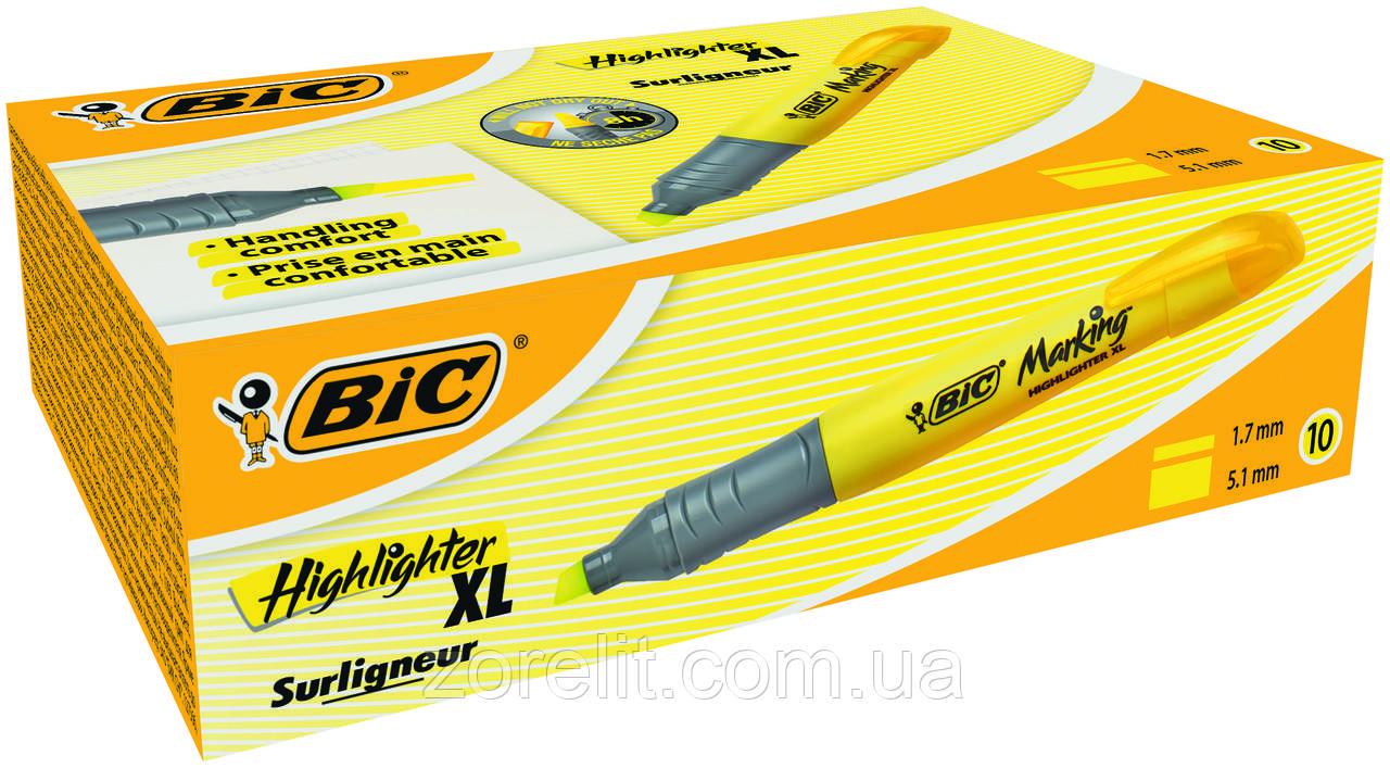 Текстовый маркер Bic жолтый брайт лайнер XL