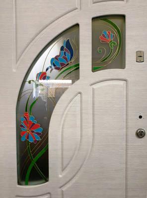 Вхідні двері з вітражем 2,05 х 0,96 L дуб білений, фото 2