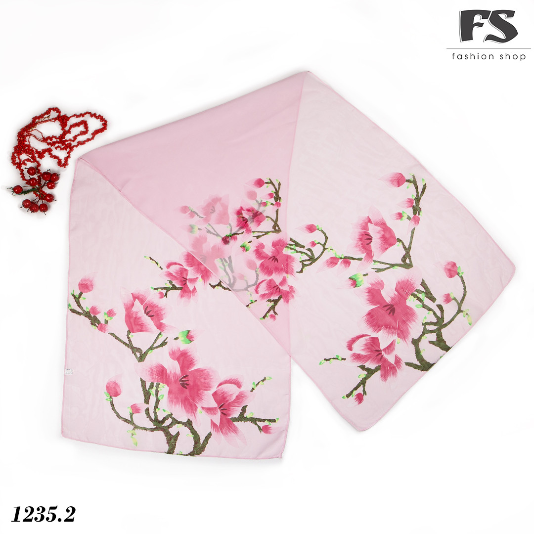 Лёгкий розовый  шарф Steam
