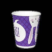 Одноразовый стакан  гофрированный, серия Зайцы 400мл. 15шт/уп (1ящ/30уп/450шт) под крышку КР91
