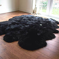 Ковер из овчины черного цвета из 6-и новозеландских овечьих шкур