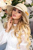Красивая соломенная шляпа с цветами 1814