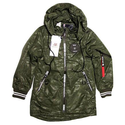 Куртка-парка демисезонная для мальчика милитари 7-8 лет хаки, фото 2