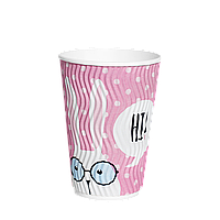 Одноразовый стакан  гофрированный, серия Зайцы 340мл. 20шт/уп (1ящ/28уп/560шт) под крышку КР80
