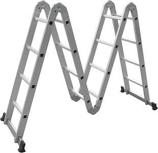 Лестница трансформер алюминиевая многофункциональная (4*4 ступ., 4780мм) Miol 90-170