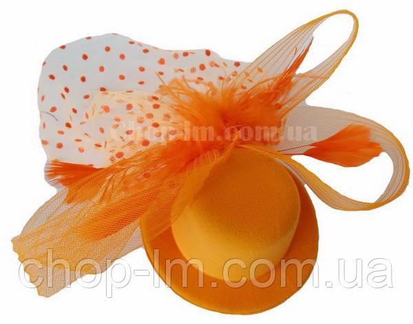 Шляпка с вуалькой оранжевая
