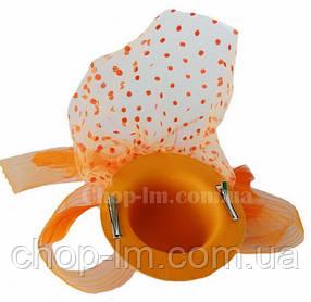Шляпка с вуалькой оранжевая, фото 2