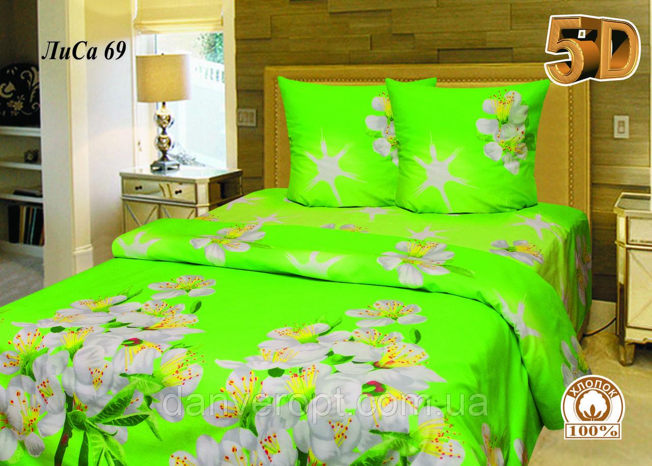 Постельное белье евро 5D принт Весенние цветы, размер 200*215, купить оптом со склада 7км Одесса