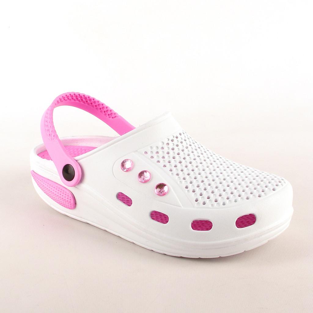 Легкие кроксы, женские сабо со стразами белые с розовым,.медицинская обувь