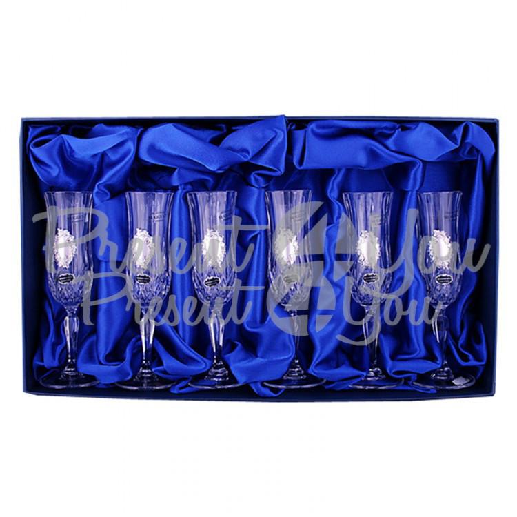 Набор хрустальных бокалов для шампанского «Виноградная лоза» 6 бокалов (130мл) (PB298795)