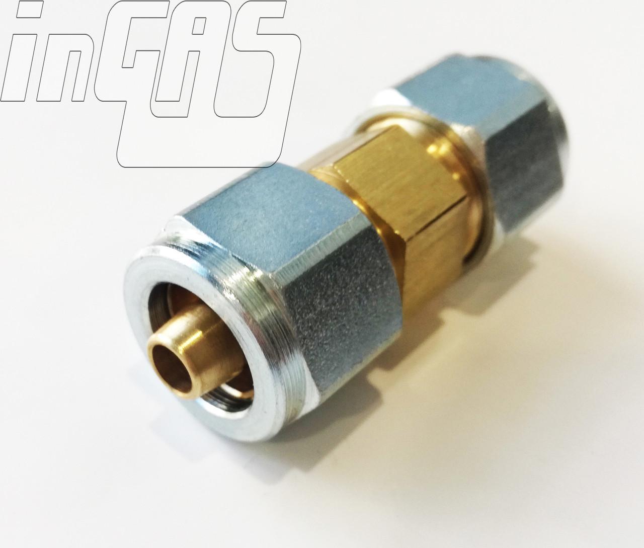 Переходник  соединитель D8-D8 ПВХ-ПВХ, гайка+ниппель, для термопластиковой трубки, FARO
