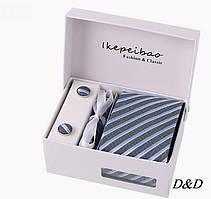 Набор галстук платок запонки зажим серая-голубая полоска