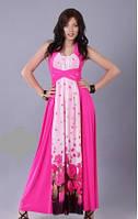 Сарафан женский летний длинный в пол цвет фуксия, сарафан нарядный с открытой спинкой