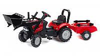 Трактор педальный детский Falk 961AM Case IH Maxxum передний ковш и прицеп