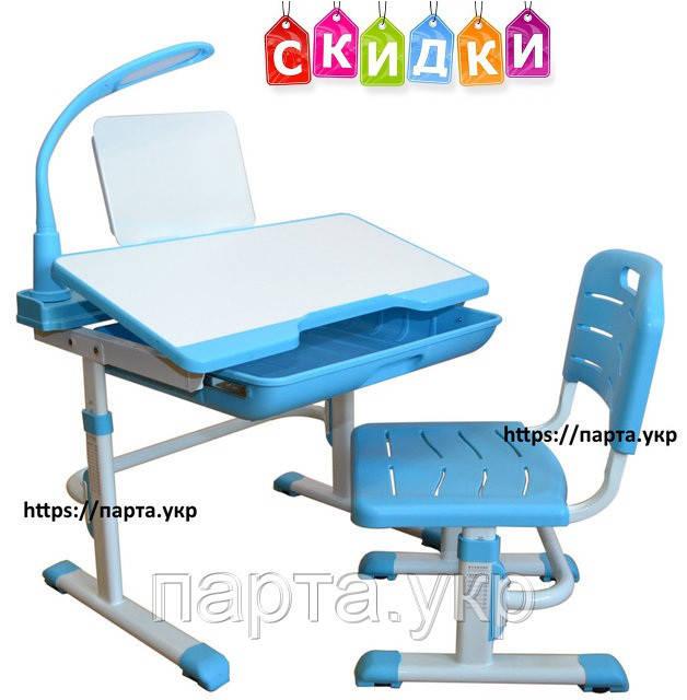 Комплект  YK-18  детская парта трансформер, стул + подставка + лампа, фото 1