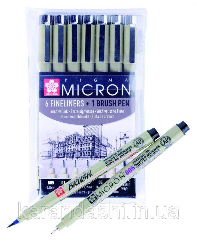 Набор линеров PIGMA Micron 6шт.+ PIGMA BRUSH В ПОДАРОК, Sakura POXSDK7B