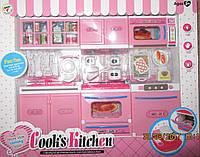 Кухня с продуктами розовая