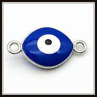 """Коннектор двусторонний """"глаз Хамса"""" серебро (2х1,1 см)"""