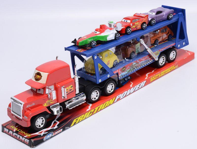 Автовоз Мак трейлер синий прицеп +6 машинок из мультика из м/ф Тачки