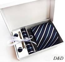 Набор галстук платок запонки зажим синий в косую полоску
