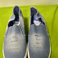 Слипоны джинсовые светлые, слипоны летние, модные слипоны, слипоны Турция