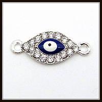 "Коннектор со стразами ""глаз Хамса"" серебро (2,6х1,1 см)"