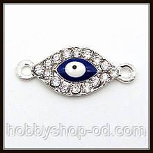 """Конектор зі стразами """"око Хамса"""" срібло (2,6х1,1 см)"""