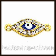 "Конектор зі стразами ""око Хамса"" золото (2,6х1,1 см)"