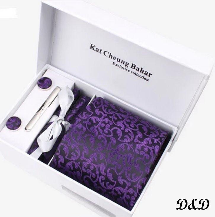 Набор галстук платок запонки зажим фиолетовый
