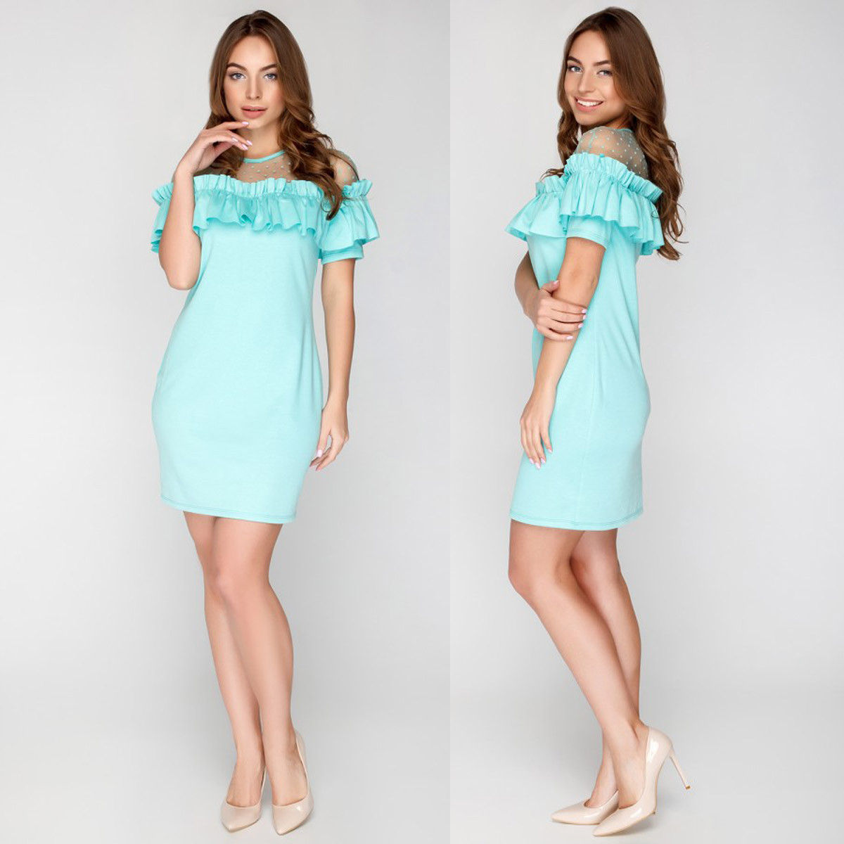 """Весенне-летнее короткое платье модное размер S """"Мия"""""""