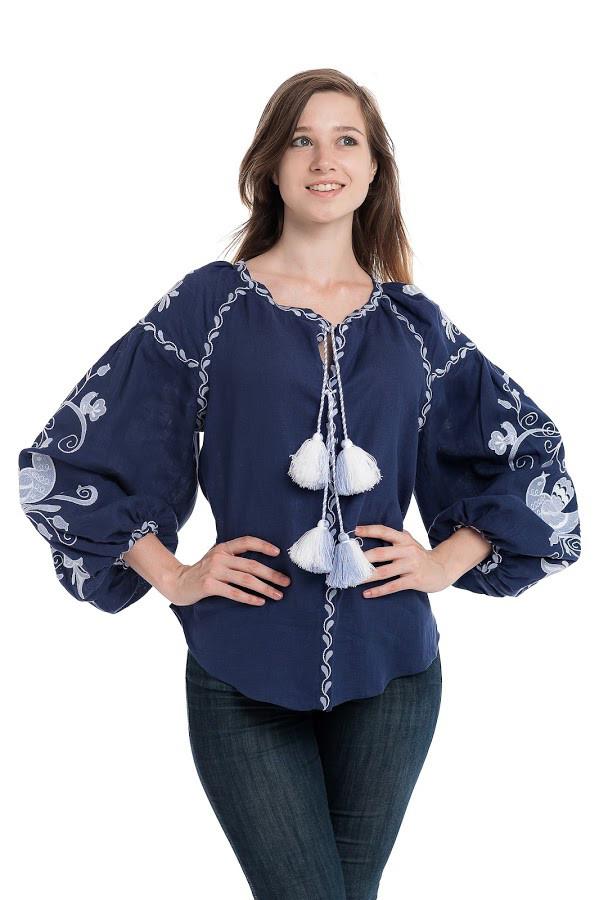 Блуза вишита Gua Птахи XS синя (3108-XS)