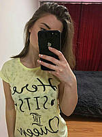 Женская Футболка, Турция 42-46рр, цвет бирюзовый Желтый