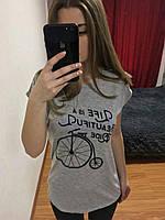 Женская Футболка, Турция 42-46рр, цвет серый Вишневый