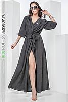 Платье из штапеля в мелкий горох 42 -48 цвет черный