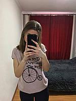Женская Футболка, Турция 42-46рр, цвет серый Розовый