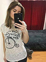 Женская Футболка, Турция 42-46рр, цвет серый Бежевый